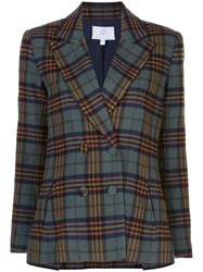 Rebecca De Ravenel Plaid Double Breasted Blazer 60