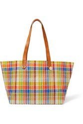Clare V. V Suki Leather Trimmed Plaid Raffia Effect Tote Multi