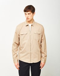 The Idle Man Zip Utility Over Shirt Stone Beige