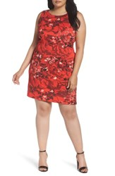 Taylor Dresses Plus Size Women's Cascading Floral Scuba Knit Sheath Dress Crimson Red