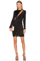 Balmain Long Sleeve Zipper Dress Black