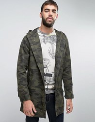 Only And Sons Camo Parka Olive Night Green