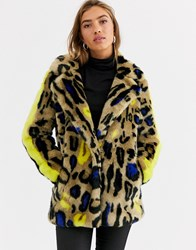 Urbancode Faux Fur Coat In Bright Leopard And Stripe Sleeve Multi