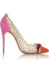 Christian Louboutin Bille Et Boule 100 Studded Pvc And Suede Pumps Pink