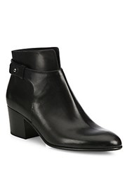 Vince Harriet Leather Block Heel Booties Black