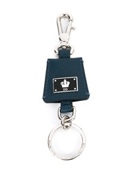 Dolce And Gabbana Crown Logo Keyring Men Calf Leather Metal Other One Size Blue