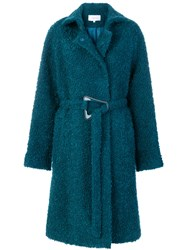 Carven Belted Teddy Coat Acetate Viscose Mohair Wool Blue