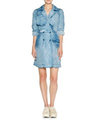 Tomas Maier Weathered Denim Trenchcoat Blue