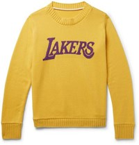 The Elder Statesman Nba Lakers Intarsia Cashmere Sweater Yellow