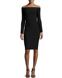 Herve Leger Off The Shoulder Long Sleeve Bandage Dress Black