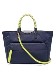 Anya Hindmarch Neon Bungee Handle Nylon Tote Bag Navy Multi