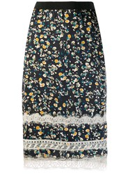 Dorothee Schumacher Printed Pencil Skirt With Lace Black
