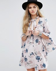 Honey Punch Button Front Tea Dress With Flared Sleeves And Tie Neck Detail In Floral Multi