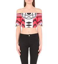 Clover Canyon Toucan Off The Shoulder Cropped Top Red