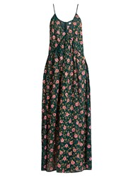 Ashish Floral Embellished Side Slit Silk Georgette Dress Dark Green