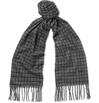 Tom Ford Fringed Checked Cashmere Scarf Gray