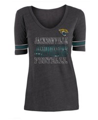 5Th And Ocean Jacksonville Jaguars Tri Blend Foil Sleeve Stripe T Shirt Black