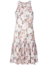 Rebecca Taylor Floral Print Pleated Dress Women Linen Flax S White