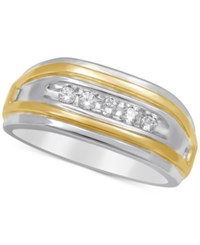 Macy's Men's Diamond Two Tone Ring 1 4 Ct. T.W. In 10K Gold And White Gold