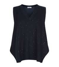 Brunello Cucinelli Sequin Swing Top Female Blue