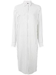 Hope Striped Shirt Dress Women Linen Flax Viscose 38 White