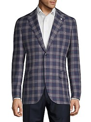 Lubiam Plaid Wool Sportcoat Navy