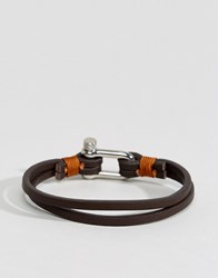 Seven London Leather Bracelet In Brown Brown
