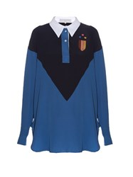 Stella Mccartney Oversized Contrast Panel Shirt Blue Multi