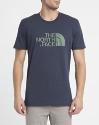 The North Face Navy Easy Tee Logo Ss Round Neck T Shirt Blue