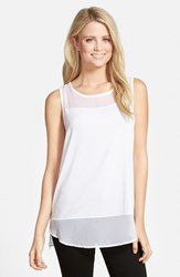 Vince Camuto Women's Sleeveless Mixed Media Top Ultra White