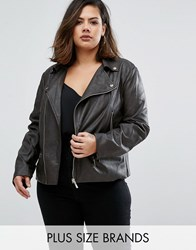 Elvi Plus Pu Biker Jacket Charcoal Grey
