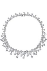 Cz By Kenneth Jay Lane Woman Rhodium Pleated Crystal Necklace Silver