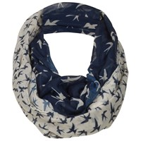 Fat Face Bird Two Part Print Snood Scarf Navy