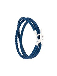 Shaun Leane Quill Wrap Bracelet Leather Sterling Silver Blue