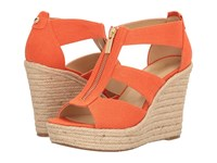 Michael Michael Kors Damita Wedge Mimosa Small Weave Canvas Women's Wedge Shoes Orange