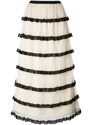 Red Valentino Frill Layered Skirt Nude Neutrals
