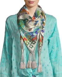 Johnny Was Blue Sky Silk Georgette Scarf With Tassels Multi