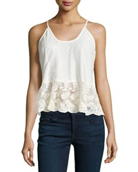 Romeo And Juliet Couture Lace Pleated Hem Racerback Tank Ivory