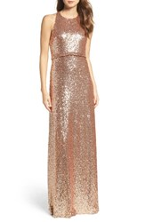 Jenny Yoo Women's Sloan Sequin Halter Gown Rose Gold