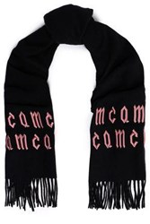 Mcq By Alexander Mcqueen Embroidered Wool Scarf Black