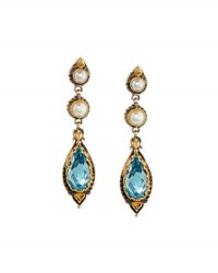 Konstantino Amphitrite Topaz And Double Pearl Dangle Earrings Blue