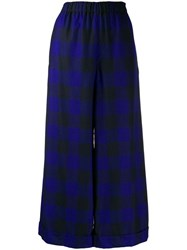 Daniela Gregis Checked Wide Leg Trousers Blue
