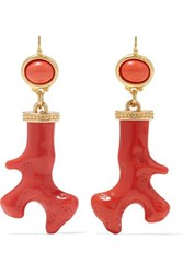 Kenneth Jay Lane Gold Tone Coral