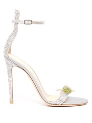 Gianvito Rossi Martini Crystal Embellished Satin Sandals Light Blue