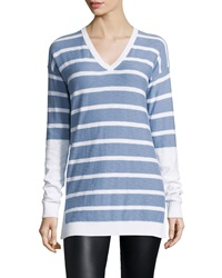 Vince Long Sleeve Striped V Neck Shirt Monaco Optic Wht