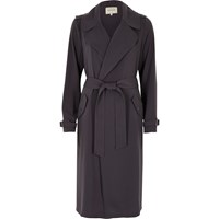 River Island Womens Grey Grey Tie Waist Duster Trench Coat