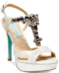 Blue By Betsey Johnson Luxe High Heel Platform Evening Sandals Women's Shoes Ivory