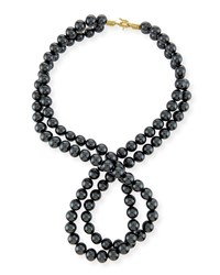 Stella Mccartney Swarovski Crystal Pearl Two Strand Necklace Black Pure White