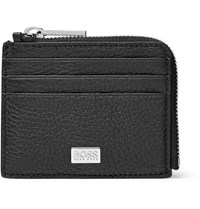 Hugo Boss Crosstown Zip Around Full Grain Leather Cardholder Black
