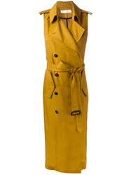 Victoria Beckham Sleeveless Trench Coat Yellow Orange